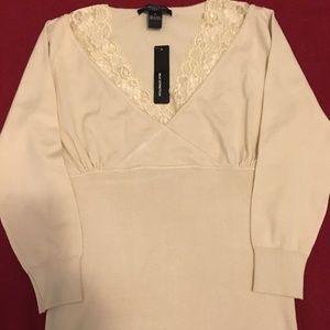 August Silk Top with Lace trim neckline